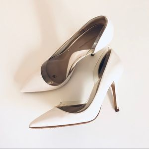Zara Pointed Toe D'orsay heels, white/clear,size 8